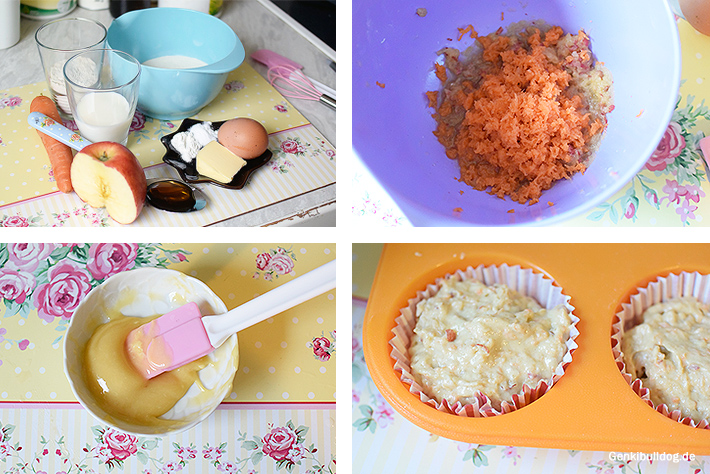 Apfel Karotten Muffin Rezept für Hunde