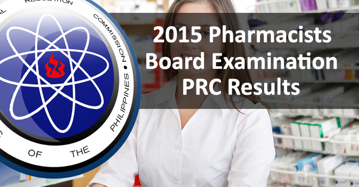 Top 10 Placers in July 2015 Pharmacists Board Examination Result