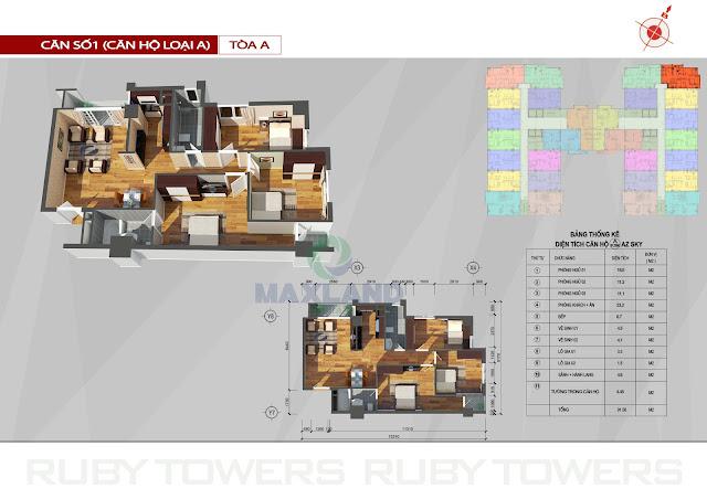 mặt bằng chi tiết căn hộ chung cư ruby tower