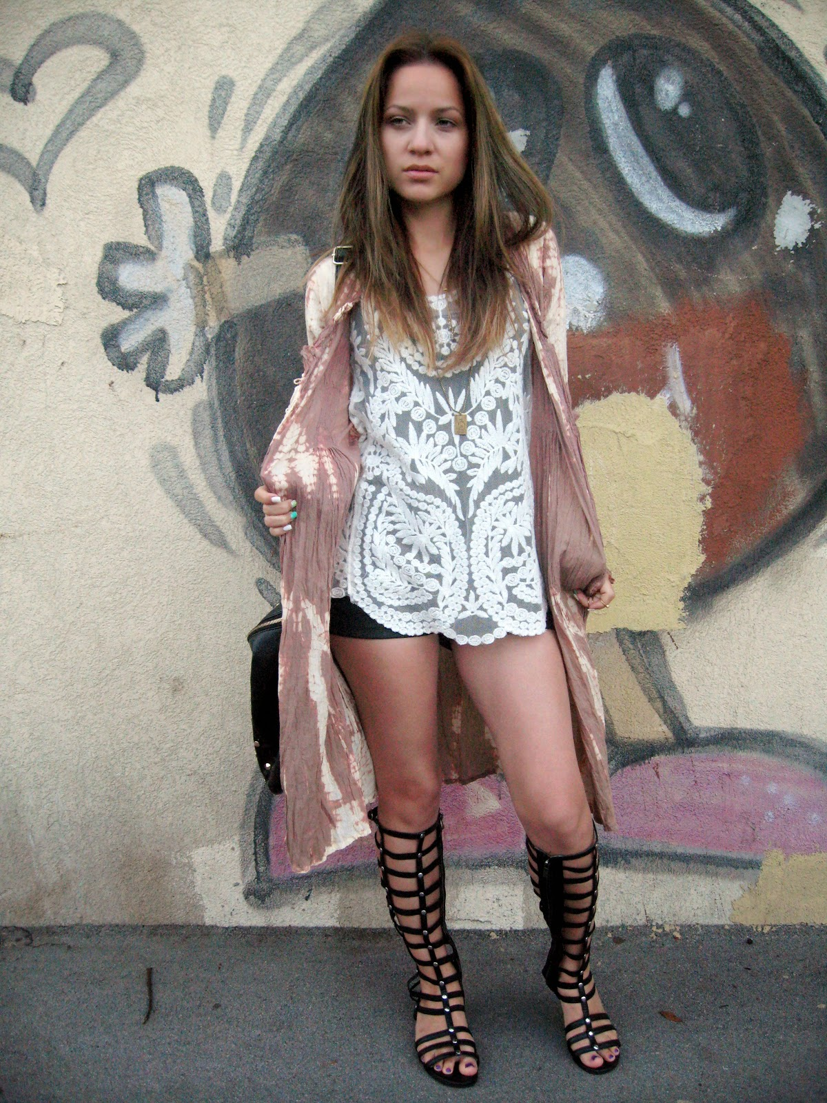 outfit styling gladiator sandals, black gladiator sandals, ebay, white embroidered lace crochet top/shirt/vest, long tie dye cardigan, carpisa black studded bag