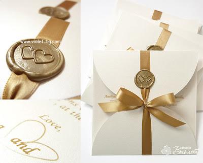 сватбена покана с восъчен печат