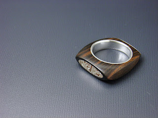 silver and wood ring