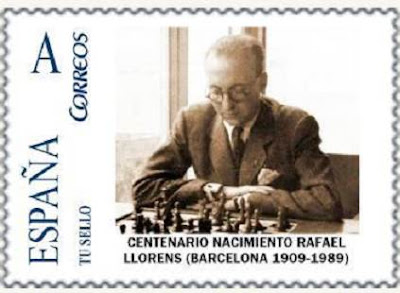 Sello de correos emitido en homenaje al ajedrecista Rafael Llorens