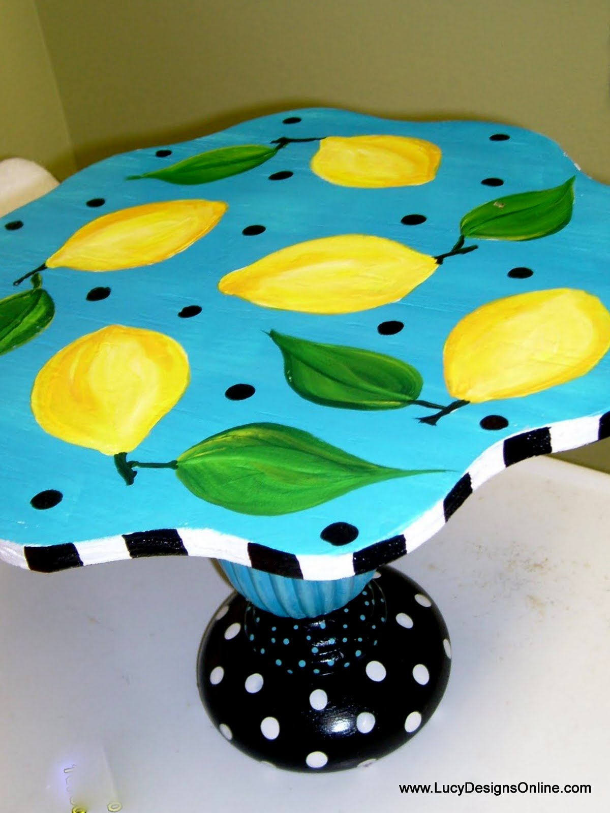hand painted lemon and leaves cake plate