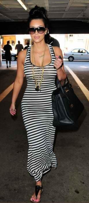 Kim Kardashian Striped Maxi Dress Designer