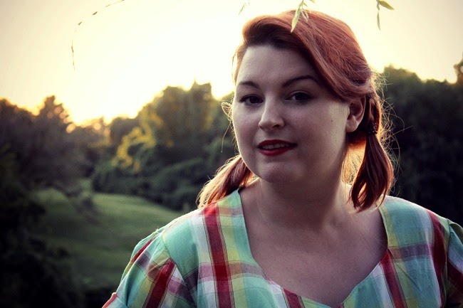 casual retro plus size featruing 1940s wrap blouse from Mrs Depew Vintage