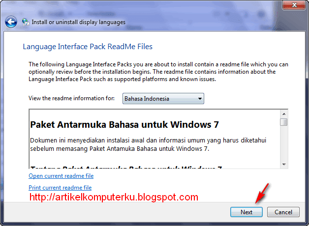 Windows 7 Language Interface Pack