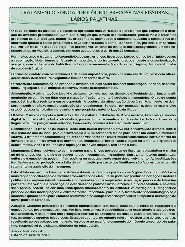 TRATAMENTO DA FONOAUDIOLOGIA