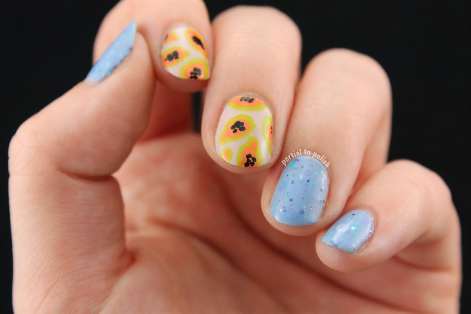 Papaya Nail Art Featuring KBShimmer Periwinkle In Time!