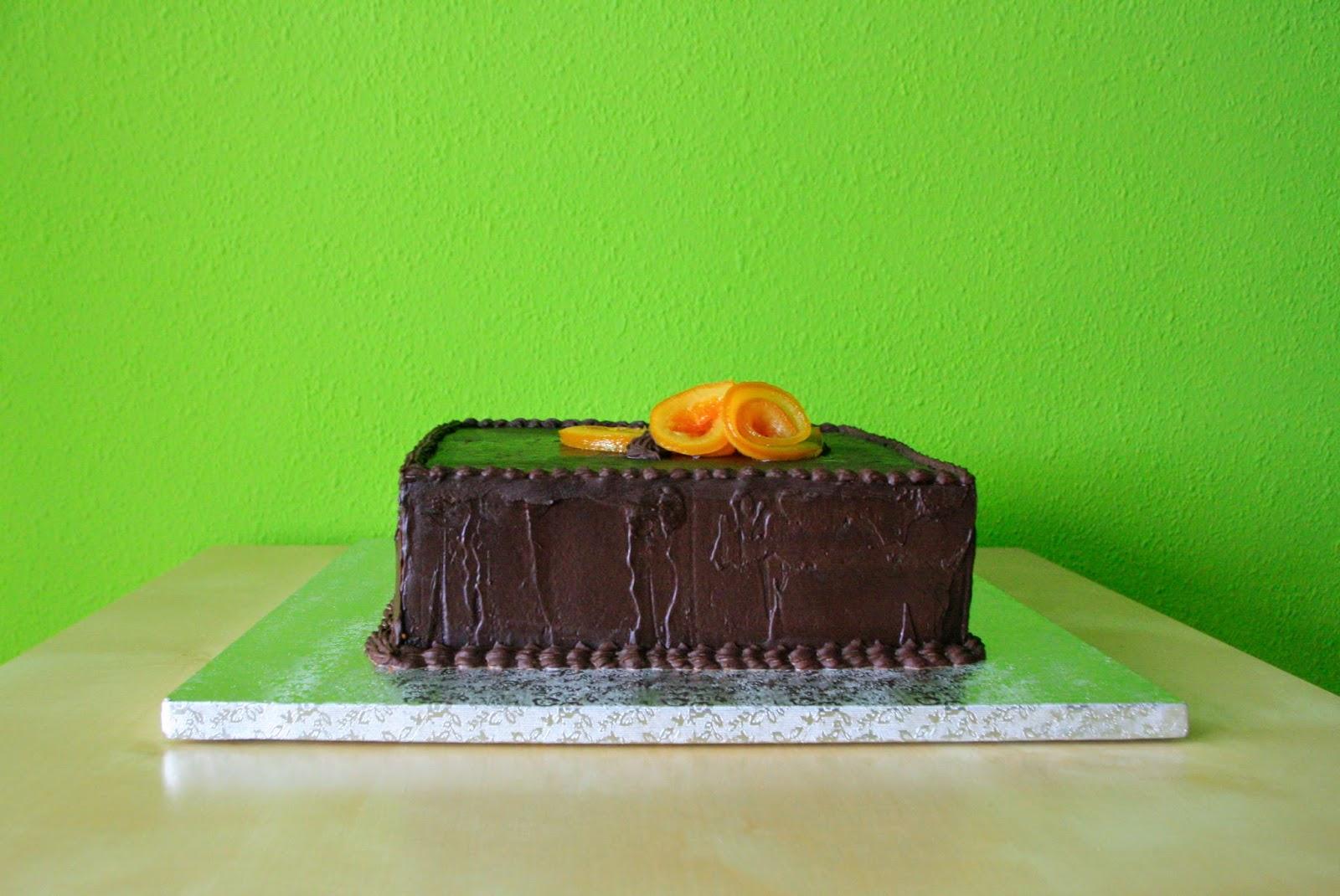 Tarta de xocolata amb taronges confitades