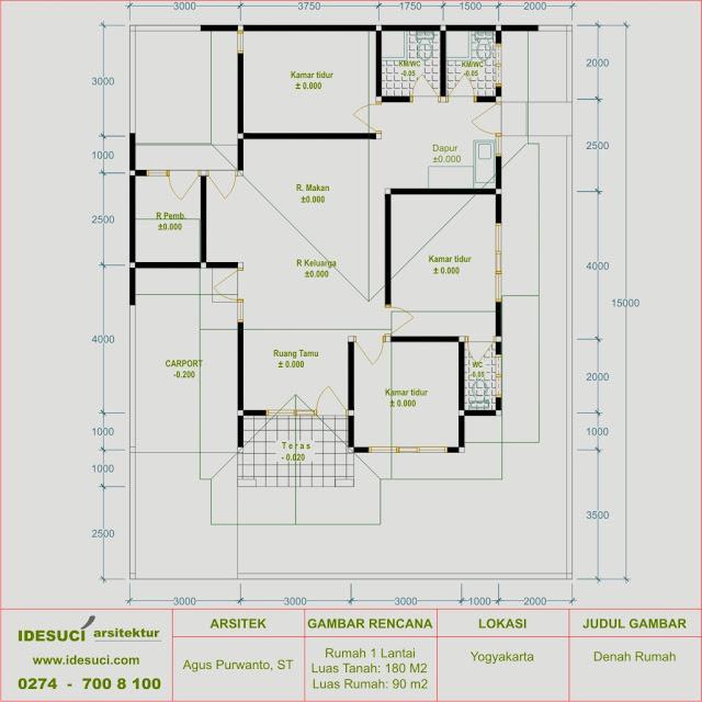 Sketsa Gambar Rumah Type 90