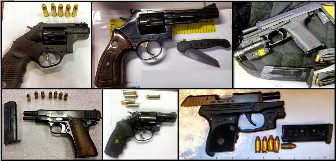 Clockwise from top left, firearms discovered at ATL, TUL, GPI, SAT, JAN, and ATL
