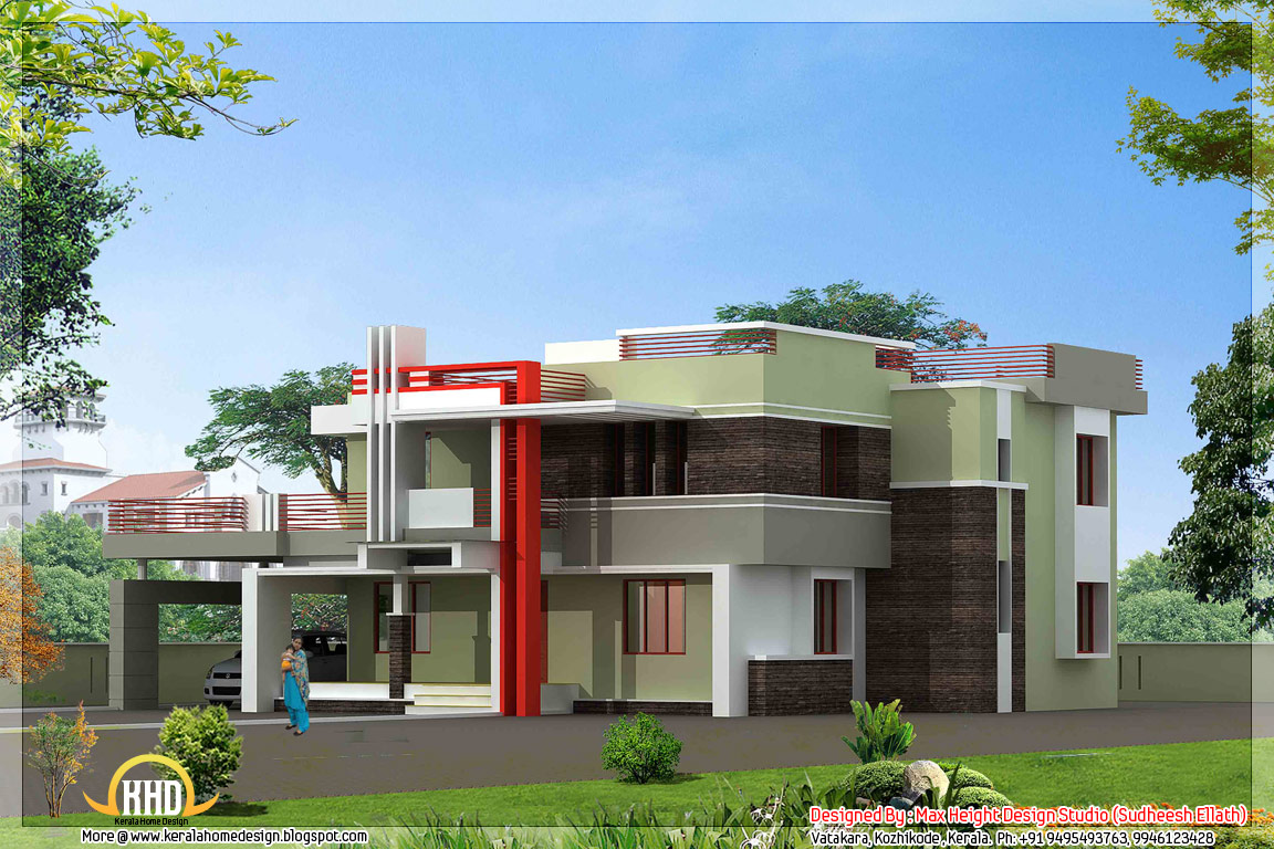 2 kerala model house elevations kerala home design and for Latest model house design