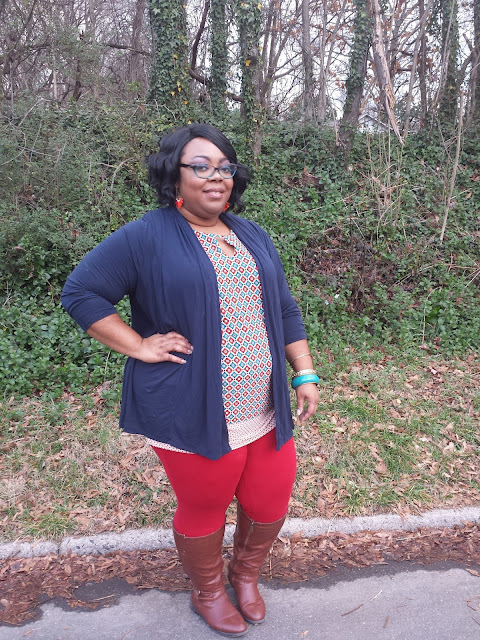 plus sized red leggings, printed tank, navy cardigan