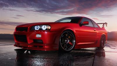 Nissan Skyline R34 GT-R Rojo Fondos de Carros Deportivos