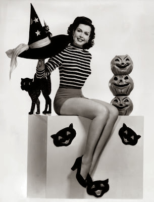 Halloween Pinup Girl Classic Black and White Cat and a Hat