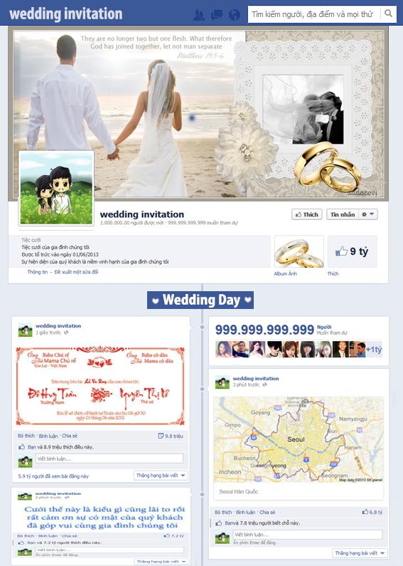 Mẫu thiệp cưới facebook sáng tạo khác