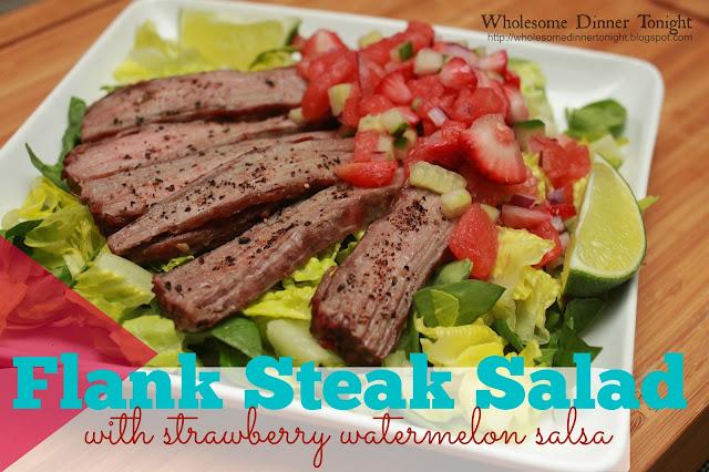 ... Salad with Strawberry Watermelon Salsa {Gluten-free, Salads, Steak