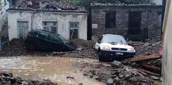 Σαμοθράκη: Πλημμύρες, κατολισθήσεις, αποκλεισμένοι δρόμοι από την καταιγίδα