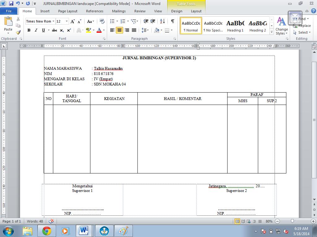 jurnal bimbingan supervisor 2 pkp ut