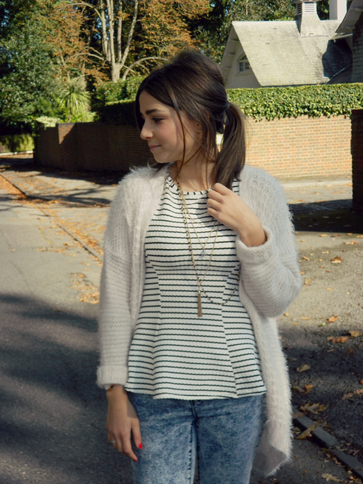 Fluffy Knit & Striped Peplum