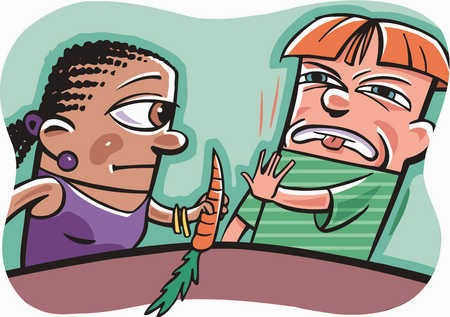Eating Environment: Husband wife fighting on dining table
