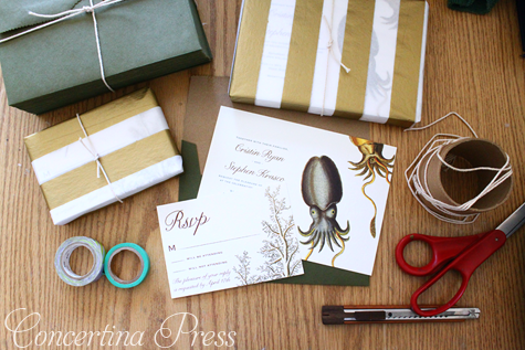 Cuttlefish Wedding Invitation by Concertina Press