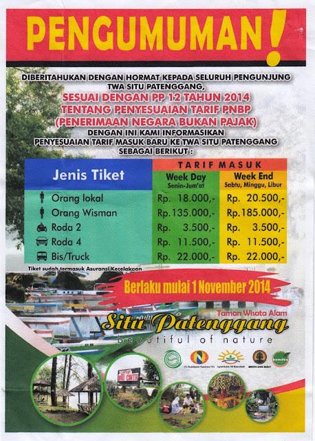 Harga tiket masuk Situ Patenggang 2016