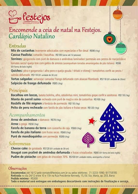 Festejos Gastronomia: Cardápio Natalino (clique para ampliar)