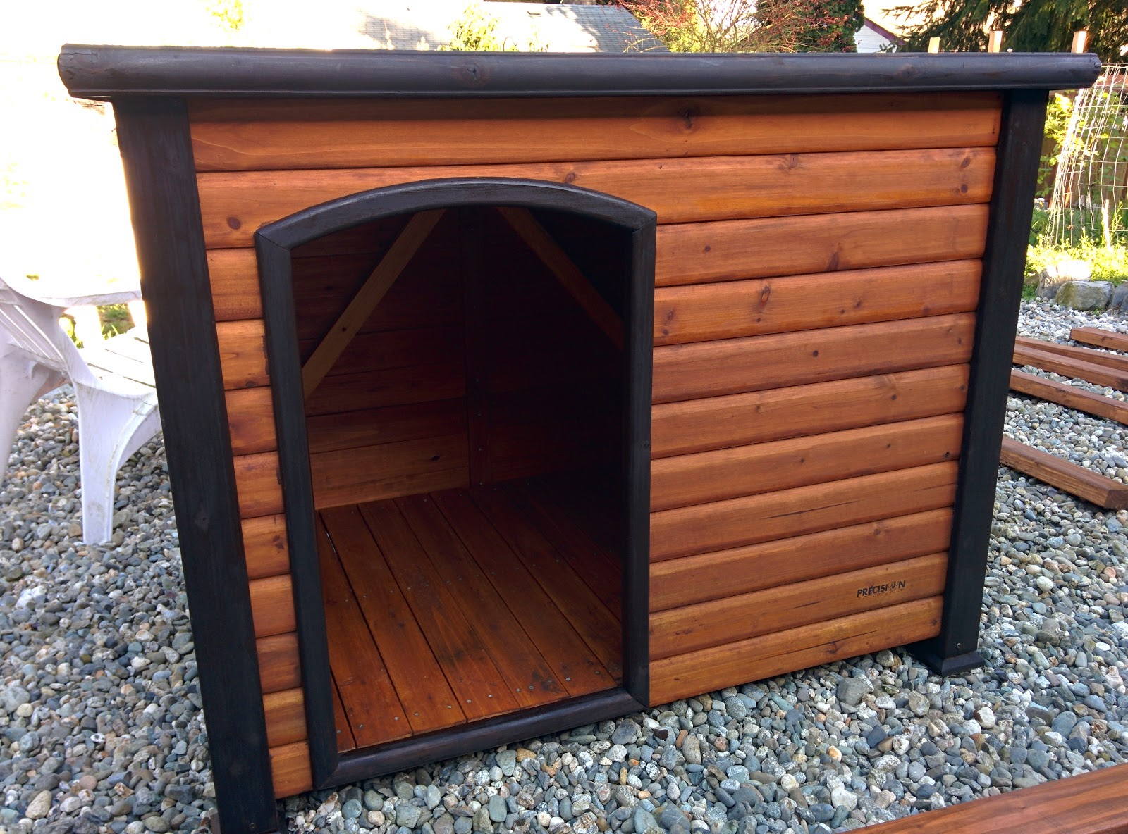 freshly stained duckhouse