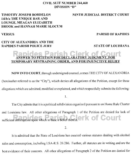 related posts; the unique bar and lounge sues city of alexandria, ...
