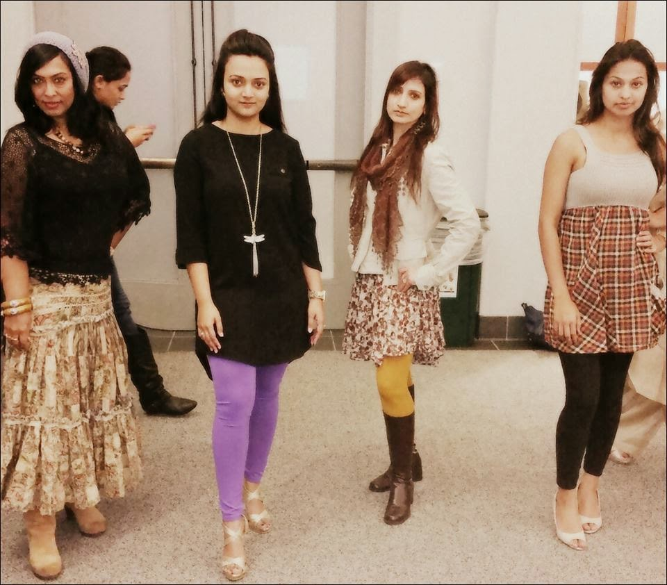 Real Indian housewives, different indian ladies, a group of women, behind the scenes of an fashion show, seattle fashion show
