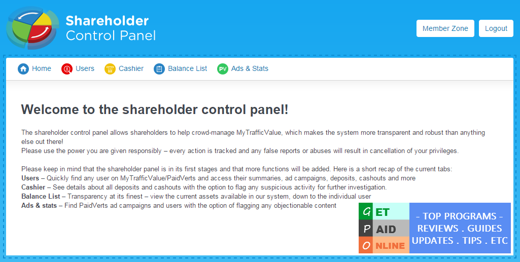 MTV Shareholder control panel