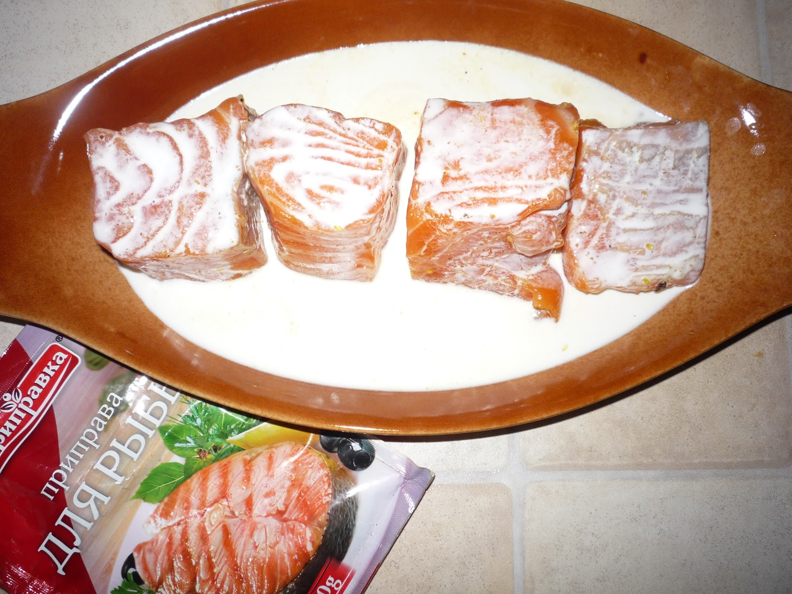 Красная рыба запеченная в сливках