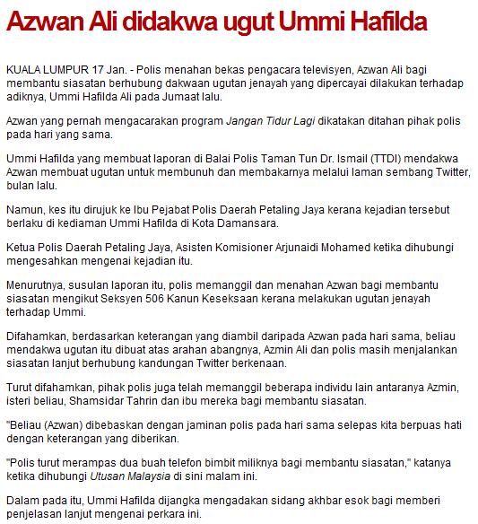 Azwan Ali Ugut Bunuh Ummi Halfida Membuat Laporan Polis