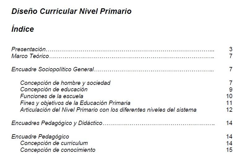 Escuela primaria n 309 barrio general lavalle viedma for Diseno curricular primaria
