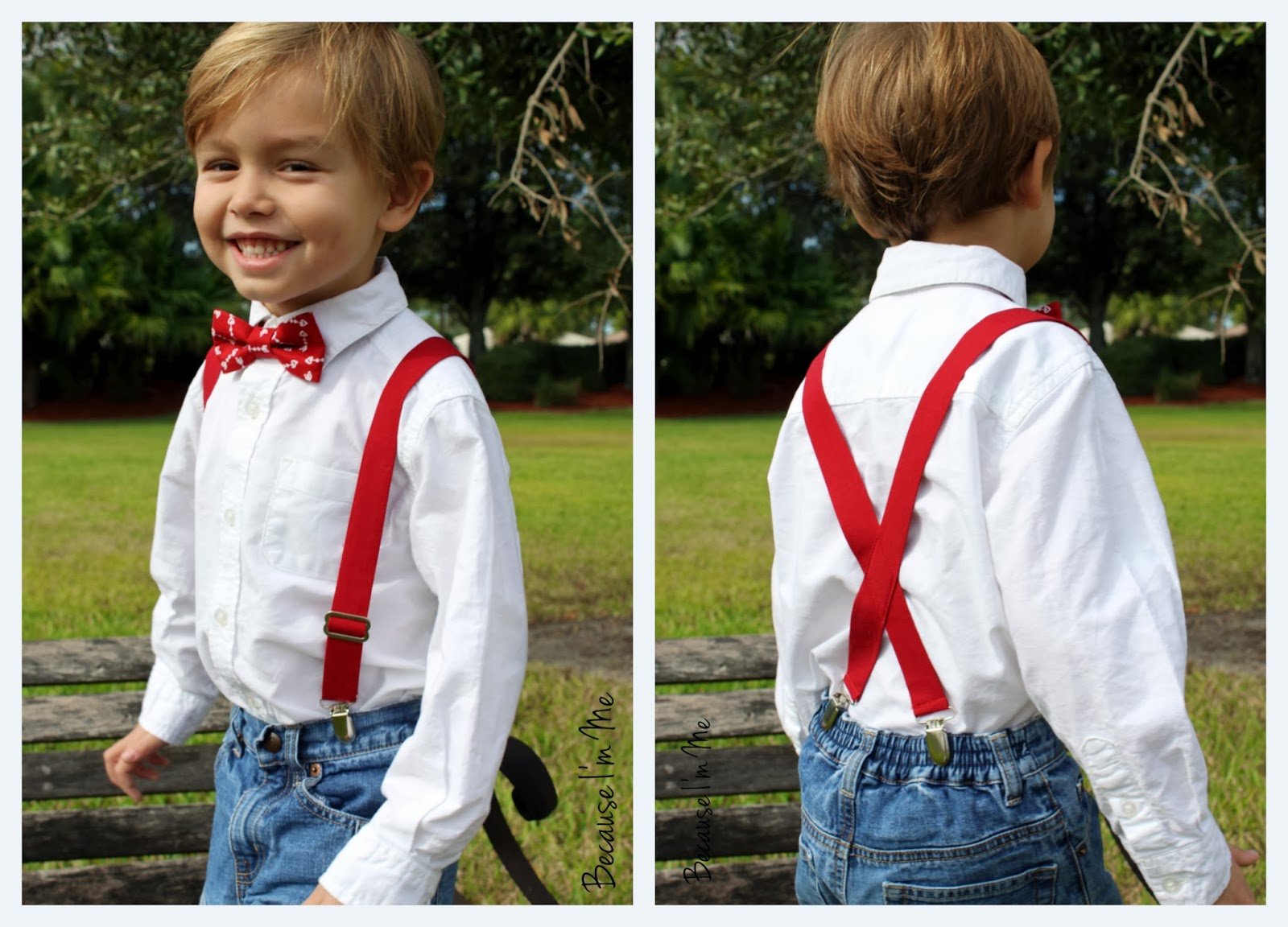 Because I'm Me red boys suspenders