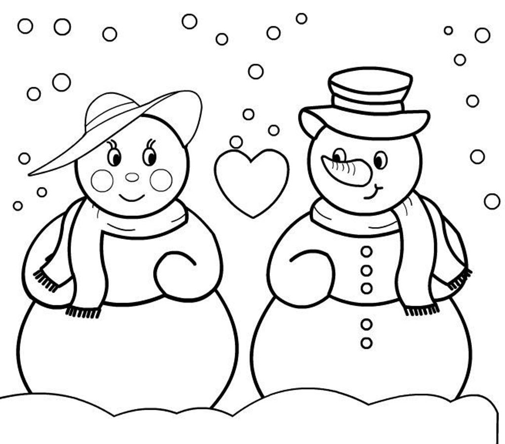 christmas girl snowman coloring pages - photo#3