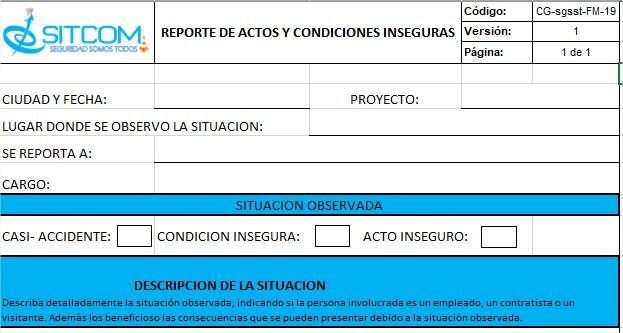 Reporte Actos y Condiciones Inseguras