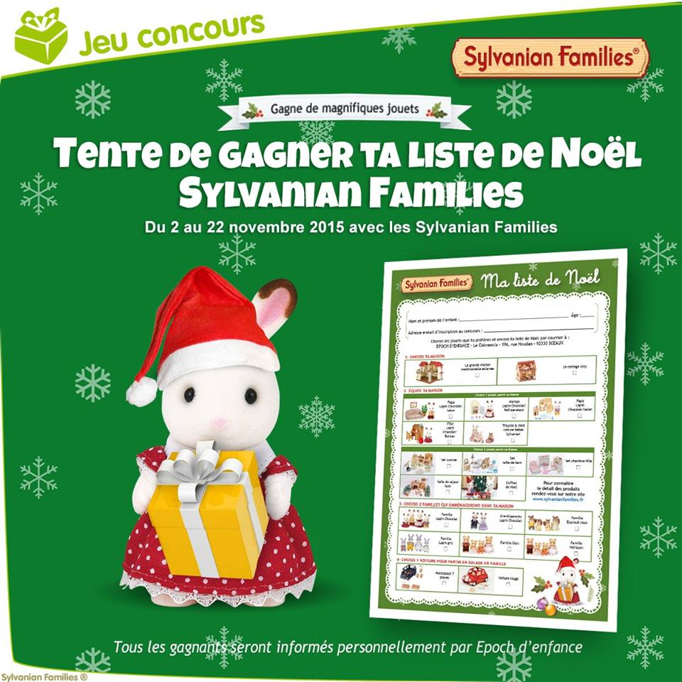 maman test tente de gagner ta liste de noel sylvanian families relais jeu concours. Black Bedroom Furniture Sets. Home Design Ideas