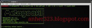 metagoofil -d microsoft.com -t doc,pdf,ppt -200 -n 10 -o hasil -f hasil.html