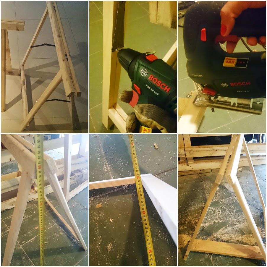 drewniane koziołki,biurko do pokoju dziecka,hipsterskie biurko DIY,zrób to sam DIy biurko,co można zrobić z palety,blog wnętrzarski DIY
