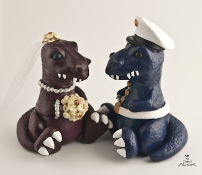 custom wedding cake topper dinosaur