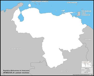 Mapa mudo de VENEZUELA, paises vecinos, limites