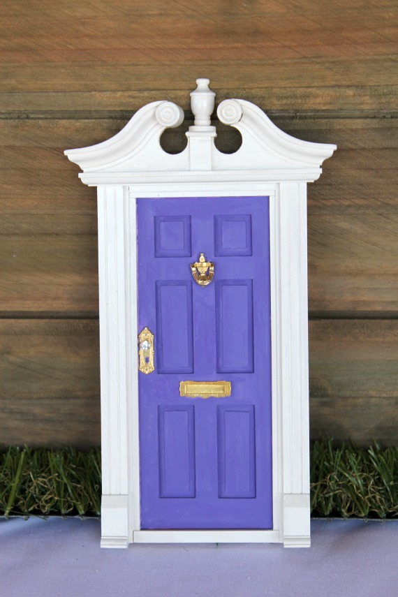 fairy door at girl's fairy birthday party. Printable, personalised decorations by Love That Party