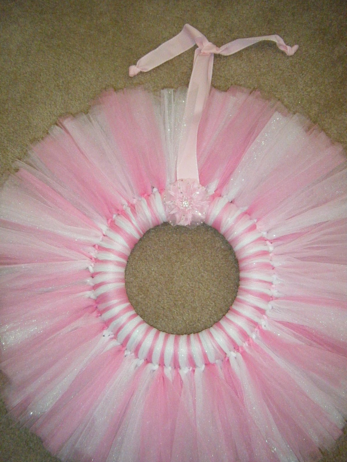 This is a St. Patrick's Day flat tulle wreath, made the same as the