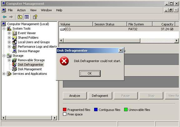 "Error ""Disk Defragmenter Could Not Start"""