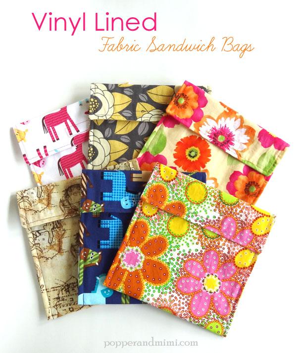 Vinyl Lined Fabric Sandwich Bag Tutorial | popperandmimi.com