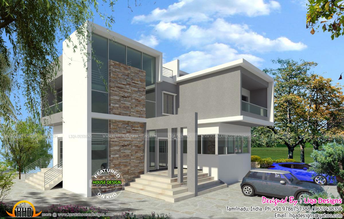 Modern contemporary tamilnadu home kerala home design for Modern houses in tamilnadu