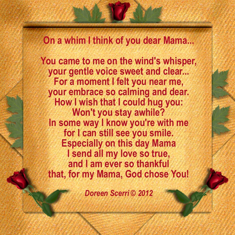 Dear Mom Poem Dear mama on <b>mother's<